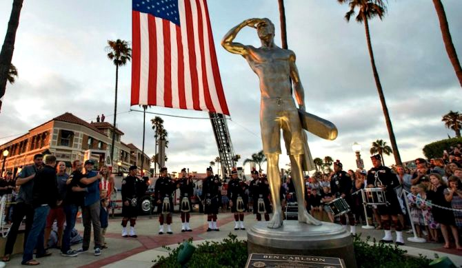 BrightView honors local hero Ben Carlson with statue.