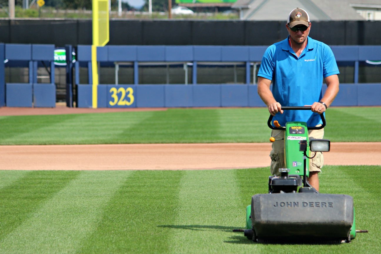 BrightView Bowman Field mowing baseball