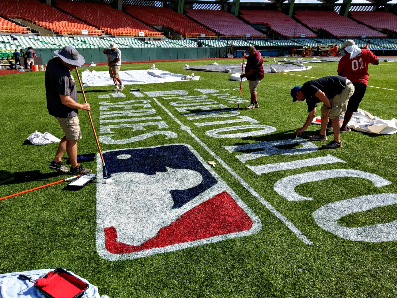 Preparing the field for Major League Baseball in Puerto Rico