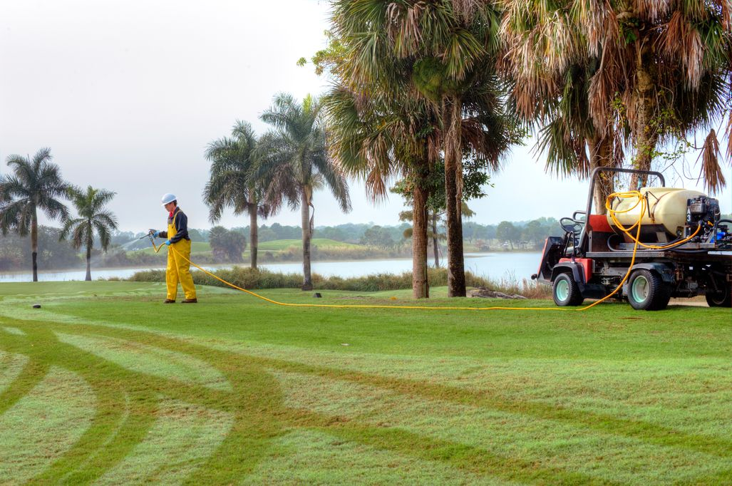 Golf Course Greens Receiving Pre-emergent Application