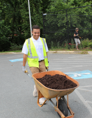 Wheel Barrel Full of Dirt During Community Service Event