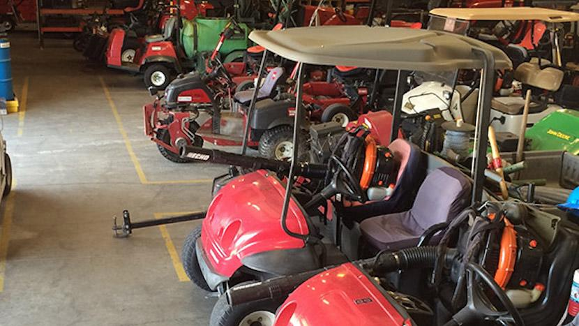 golf carts and golf course mowers