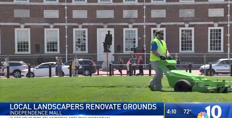 NBC10 news Independence National Historical Park green mowers BrightView